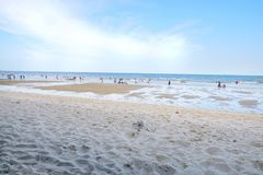 People playing the sea at cha am beach. PRACHUAP KHIRI KHAN, THAILAND - APRIL 20, 2018 : People playing the sea at cha am beach. Many tourists visit here, View Stock Photography