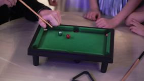 People playing table billiard stock footage