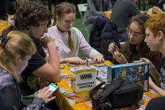 People playing table game at the Gamefilmexpo festival Stock Photography