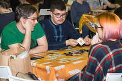 People playing table game at the Gamefilmexpo festival Stock Images