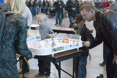 People playing table hockey Royalty Free Stock Photo