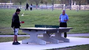 People playing table tennis and make a phone call at park stock video footage