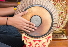 People playing Thai vintage drum Royalty Free Stock Images