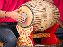 People playing Thai vintage drum Royalty Free Stock Photography