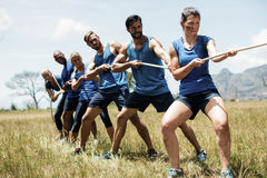 People playing tug of war during obstacle training course stock photo