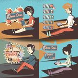 People playing video game retro. Vector illustration design Stock Images