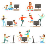 People Playing Video Games With High Tech Technologies Collection Of Happy Cartoon Characters Royalty Free Stock Photo
