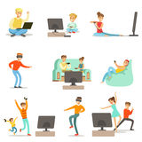 People Playing Video Games With High Tech Technologies Set Of Happy Cartoon Characters Stock Image