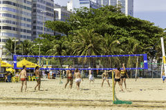 People playing volleyball in Copacabana Beach in Rio de Janeiro, Brazil Royalty Free Stock Photography