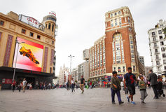 People on Plaza Callao in Madrid Stock Photos