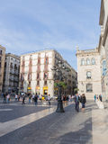 People in the Plaza Sant Jaume de Stock Images