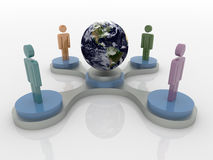 People on podium around the world, Social Network 3D Concept. Abstract 3D concept of people in a work group standing on podium around earth.  Colors are green Royalty Free Stock Images