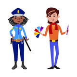 People police officer and artist different professions vector illustration. Stock Photos