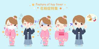 People with hay fever problem. People with pollen allergy and feature of hay fever in japanese word Stock Photography