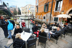 People at Ponte dell Academia in Venice Royalty Free Stock Photos