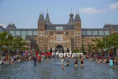 People in the pool in front of Rijksmuseum in Amsterdam Royalty Free Stock Photography