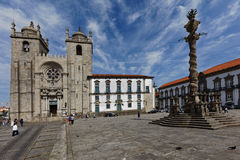 People at the Porto Cathedral Stock Photo