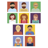 People portraits collection vector set Stock Photo