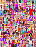 People Portraits. Large group of people. Art composition of abstract portraits - vector illustration.  Can be used as seamless background Stock Photography