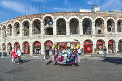 People pose at the arena of Verona Royalty Free Stock Photography