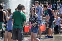 People pour water on each other. Water Battle, Peerburg, Russia Stock Image