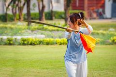 people practice Chinese sword with Tai Chi Chuan in a park. BANGKOK, THAILAND - FEBRUARY 20, 2016: Unidentified group of people practice Chinese sword with Tai Stock Image