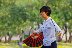 People practice Tai Chi Chuan in a park. BANGKOK, THAILAND - FEBRUARY 20, 2016: Unidentified people practice Tai Chi Chuan - Chinese exercising martial art in a Stock Photos
