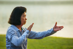 People practice Tai Chi Chuan in a park. BANGKOK, THAILAND - FEBRUARY 13, 2016: Unidentified group of people practice Tai Chi Chuan in a park Royalty Free Stock Images