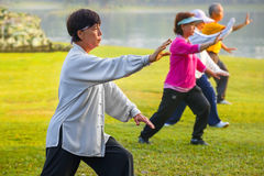 People practice Tai Chi Chuan in a park. BANGKOK, THAILAND - FEBRUARY 13, 2016: Unidentified group of people practice Tai Chi Chuan in a park Stock Photography