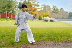 People practice Tai Chi Chuan in a park. BANGKOK, THAILAND - FEBRUARY 20, 2016: Unidentified group of people practice Tai Chi Chuan in a park Stock Images