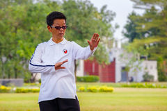 People practice Tai Chi Chuan in a park. BANGKOK, THAILAND - FEBRUARY 20, 2016: Unidentified group of people practice Tai Chi Chuan in a park Stock Image