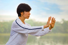 People practice Tai Chi Chuan in a park. BANGKOK, THAILAND - FEBRUARY 20, 2016: Unidentified group of people practice Tai Chi Chuan in a park Royalty Free Stock Photography