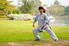People practice Tai Chi Chuan in a park Royalty Free Stock Photo