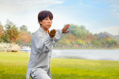 People practice Tai Chi Chuan in a park Stock Images