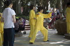 People practice Taiji. In the park,  China Royalty Free Stock Image