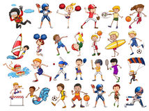 People practicing different sports. Illustration Royalty Free Stock Photos