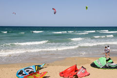 Free People Practicing Kitesurf On The Beach Of Torre Canne Royalty Free Stock Image - 74008806