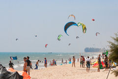 People practicing kitesurf Stock Photography