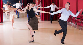 People practicing lindy hop movements Stock Photos