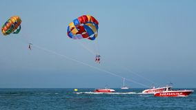People practicing parasailng. Active people on holiday practicing parasailng summer sport Stock Image