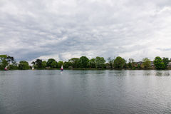 People practicing sailing on a Spring day in South Norwood lake Stock Photography