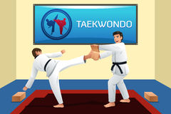 People Practicing Taekwondo. A vector illustration of people practicing taekwondo in a dojo Royalty Free Stock Images
