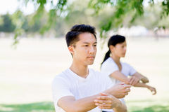 People practicing thai chi in park Stock Images