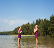 People practicing yoga Royalty Free Stock Photos