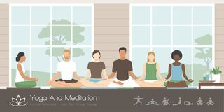 People practicing yoga and meditation vector illustration