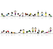 People practicing yoga, seamless background stock illustration