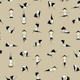People practicing yoga, seamless background Royalty Free Stock Photos