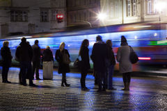 People in prague waiting for tram Stock Image