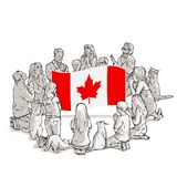 People pray for Canada. Art vector illustration