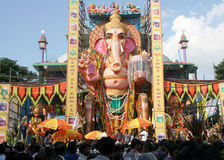 People pray to 58 feet high Lord Ganesh idol, at Khairatabad,HHyderabad,India Stock Images